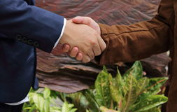 2 бизнесмена тряся руки, успешную концепцию дела Стоковая Фотография