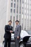 2 бизнесмена тряся руки outdoors Стоковое Изображение RF