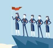 Бизнесмена флага верхней части успеха в бизнесе сыгранности руководителя женщины гора символа характера коммерсантки корпоративно иллюстрация штока