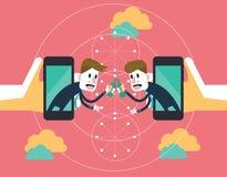 2 бизнесмена clink стекла для того чтобы отпраздновать успех на передвижном облаке партнерство дела и концепция технологии Стоковое фото RF