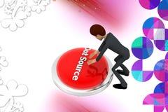 бизнесмена 3d illstration кнопки источника вне Стоковые Фото