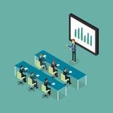 Бизнесмены аналитические на отчете о диаграммы монитора и SEO на сети Плоский вектор workplace офис человек предпосылки изолирова Стоковое Фото