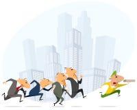 Бизнесмены бежать для курьера пиццы иллюстрация штока