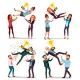 Бизнесмены вектора победителя установленного Человек, женщина Бросая коллега вверх Коллега празднуя достижение цели first бесплатная иллюстрация