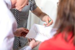 Бизнесмены в встрече обсуждая о финансовых результатах Стоковые Фото