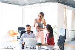3 бизнесмены в офисе говоря совместно Стоковое Изображение RF