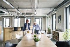 2 бизнесмены в офисе говоря совместно Стоковое Фото