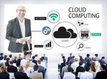 Бизнесмены в семинаре облака вычисляя Стоковое фото RF