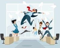 Бизнесмены в скакать офиса Стоковое Фото