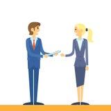 Бизнесмены говоря comunicating плоский дизайн Стоковая Фотография