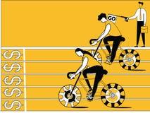 Бизнесмены делая гонки цикла иллюстрация штока