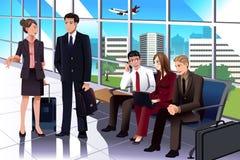 Бизнесмены ждать в авиапорте бесплатная иллюстрация