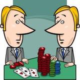 Бизнесмены играя шарж покера бесплатная иллюстрация