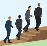 Бизнесмены идя вверх по лестницам бесплатная иллюстрация