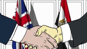 Бизнесмены или политики трясут руки против флагов Британии и Египта Связанные официальное заседание или сотрудничество иллюстрация вектора
