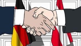 Бизнесмены или политики трясут руки против флагов Германии и Австрии Связанные официальное заседание или сотрудничество бесплатная иллюстрация