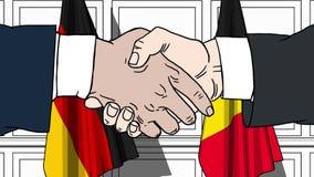 Бизнесмены или политики трясут руки против флагов Германии и Бельгии Связанные официальное заседание или сотрудничество иллюстрация вектора