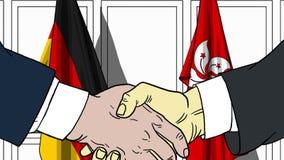 Бизнесмены или политики трясут руки против флагов Германии и Гонконга Связанные официальное заседание или сотрудничество иллюстрация вектора