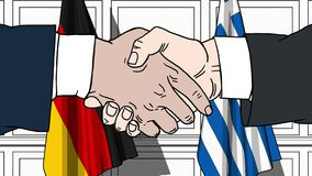 Бизнесмены или политики трясут руки против флагов Германии и Греции Связанные официальное заседание или сотрудничество иллюстрация вектора