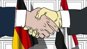 Бизнесмены или политики трясут руки против флагов Германии и Египта Связанные официальное заседание или сотрудничество бесплатная иллюстрация