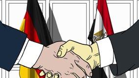 Бизнесмены или политики трясут руки против флагов Германии и Египта Связанные официальное заседание или сотрудничество иллюстрация вектора