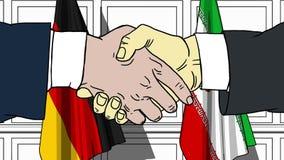 Бизнесмены или политики трясут руки против флагов Германии и Ирана Связанные официальное заседание или сотрудничество бесплатная иллюстрация