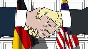 Бизнесмены или политики трясут руки против флагов Германии и Малайзии Связанные официальное заседание или сотрудничество иллюстрация вектора