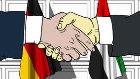 Бизнесмены или политики трясут руки против флагов Германии и ОАЭ Официальное заседание или шарж сотрудничества родственный иллюстрация вектора