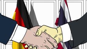 Бизнесмены или политики трясут руки против флагов Германии и Таиланда Связанные официальное заседание или сотрудничество бесплатная иллюстрация