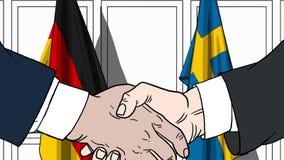 Бизнесмены или политики трясут руки против флагов Германии и Швеции Связанные официальное заседание или сотрудничество иллюстрация вектора