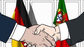 Бизнесмены или политики трясут руки против флагов Германии и Португалии Связанные официальное заседание или сотрудничество иллюстрация штока