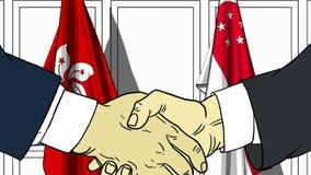 Бизнесмены или политики трясут руки против флагов Гонконга и Сингапура Связанные официальное заседание или сотрудничество бесплатная иллюстрация