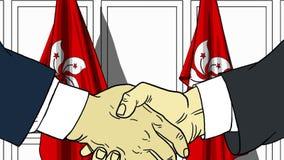 Бизнесмены или политики трясут руки против флагов Гонконга Официальное заседание или шарж сотрудничества родственный бесплатная иллюстрация