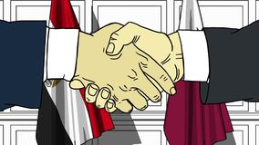 Бизнесмены или политики трясут руки против флагов Египта и Катара Официальное заседание или шарж сотрудничества родственный иллюстрация вектора