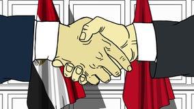 Бизнесмены или политики трясут руки против флагов Египта и Марокко Связанные официальное заседание или сотрудничество иллюстрация штока