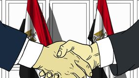 Бизнесмены или политики трясут руки против флагов Египта Официальное заседание или шарж сотрудничества родственный иллюстрация вектора