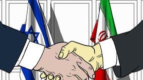 Бизнесмены или политики трясут руки против флагов Израиля и Ирана Официальное заседание или шарж сотрудничества родственный иллюстрация штока