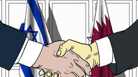 Бизнесмены или политики трясут руки против флагов Израиля и Катара Связанные официальное заседание или сотрудничество бесплатная иллюстрация
