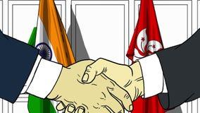 Бизнесмены или политики трясут руки против флагов Индии и Гонконга Связанные официальное заседание или сотрудничество иллюстрация вектора