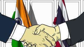 Бизнесмены или политики трясут руки против флагов Индии и Таиланда Связанные официальное заседание или сотрудничество иллюстрация вектора