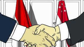Бизнесмены или политики трясут руки против флагов Индонезии и Сингапура Связанные официальное заседание или сотрудничество иллюстрация вектора