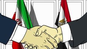 Бизнесмены или политики трясут руки против флагов Ирана и Египта Официальное заседание или шарж сотрудничества родственный иллюстрация вектора