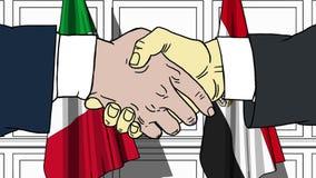 Бизнесмены или политики трясут руки против флагов Италии и Египта Официальное заседание или шарж сотрудничества родственный иллюстрация вектора