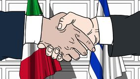 Бизнесмены или политики трясут руки против флагов Италии и Израиля Связанные официальное заседание или сотрудничество иллюстрация вектора