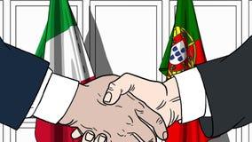 Бизнесмены или политики трясут руки против флагов Италии и Португалии Связанные официальное заседание или сотрудничество бесплатная иллюстрация