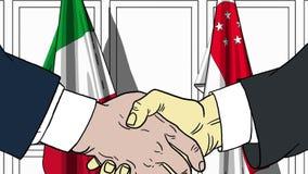 Бизнесмены или политики трясут руки против флагов Италии и Сингапура Связанные официальное заседание или сотрудничество иллюстрация штока