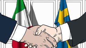 Бизнесмены или политики трясут руки против флагов Италии и Швеции Связанные официальное заседание или сотрудничество бесплатная иллюстрация