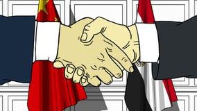 Бизнесмены или политики трясут руки против флагов Китая и Египта Официальное заседание или шарж сотрудничества родственный иллюстрация штока