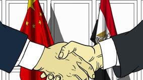 Бизнесмены или политики трясут руки против флагов Китая и Египта Официальное заседание или шарж сотрудничества родственный бесплатная иллюстрация