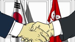 Бизнесмены или политики трясут руки против флагов Кореи и Гонконга Связанные официальное заседание или сотрудничество иллюстрация вектора